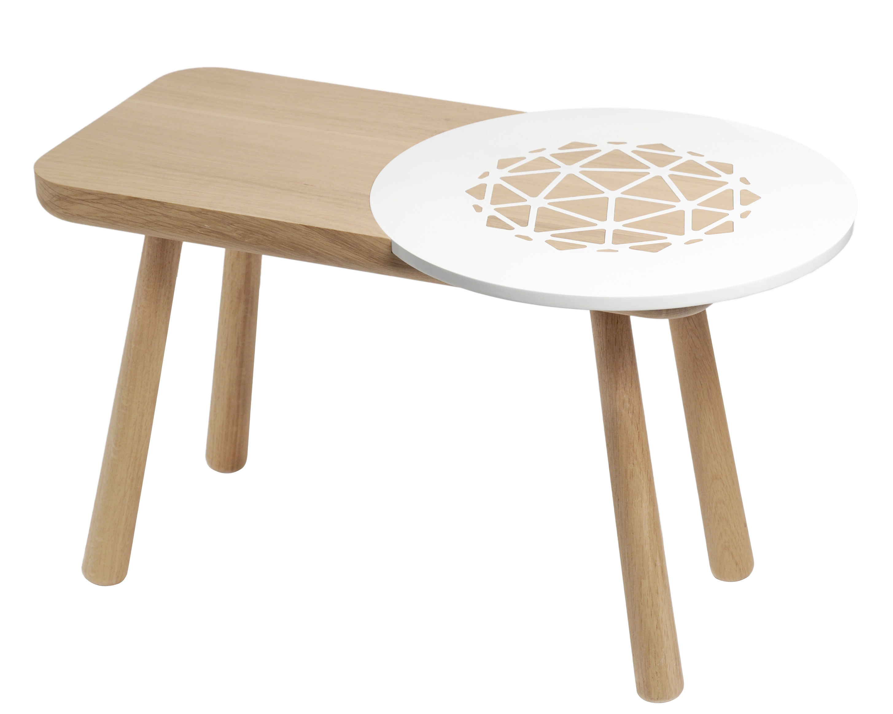 Les Biches Coffee Table Round 70 X 40 Cm Natural Wood White By Y 39 A Pas Le Feu Au Lac