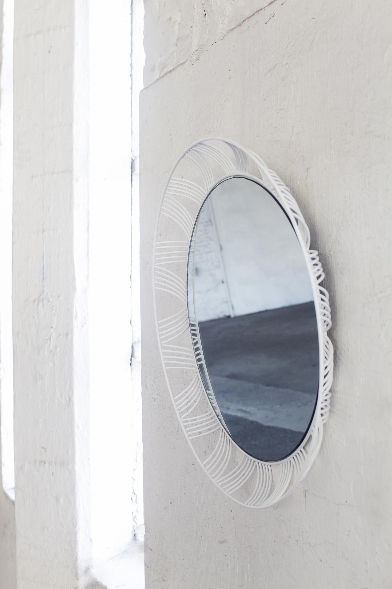 miroir stilk rond 50 cm blanc serax. Black Bedroom Furniture Sets. Home Design Ideas