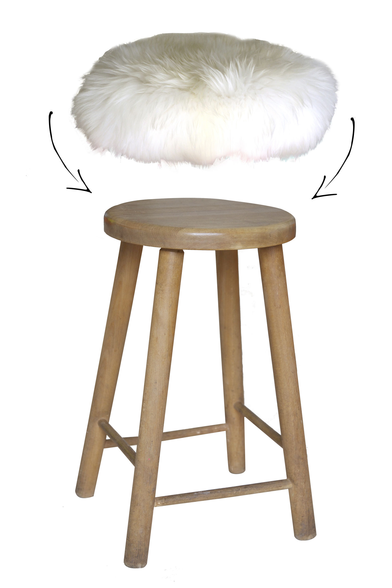 Housse de tabouret top moumoute peau de mouton v ritable for Housse de tabouret de bar