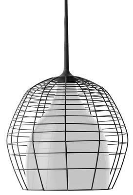 Suspension Cage Ø 34 cm - Diesel with Foscarini  Cage noire / abat-jour interne blanc