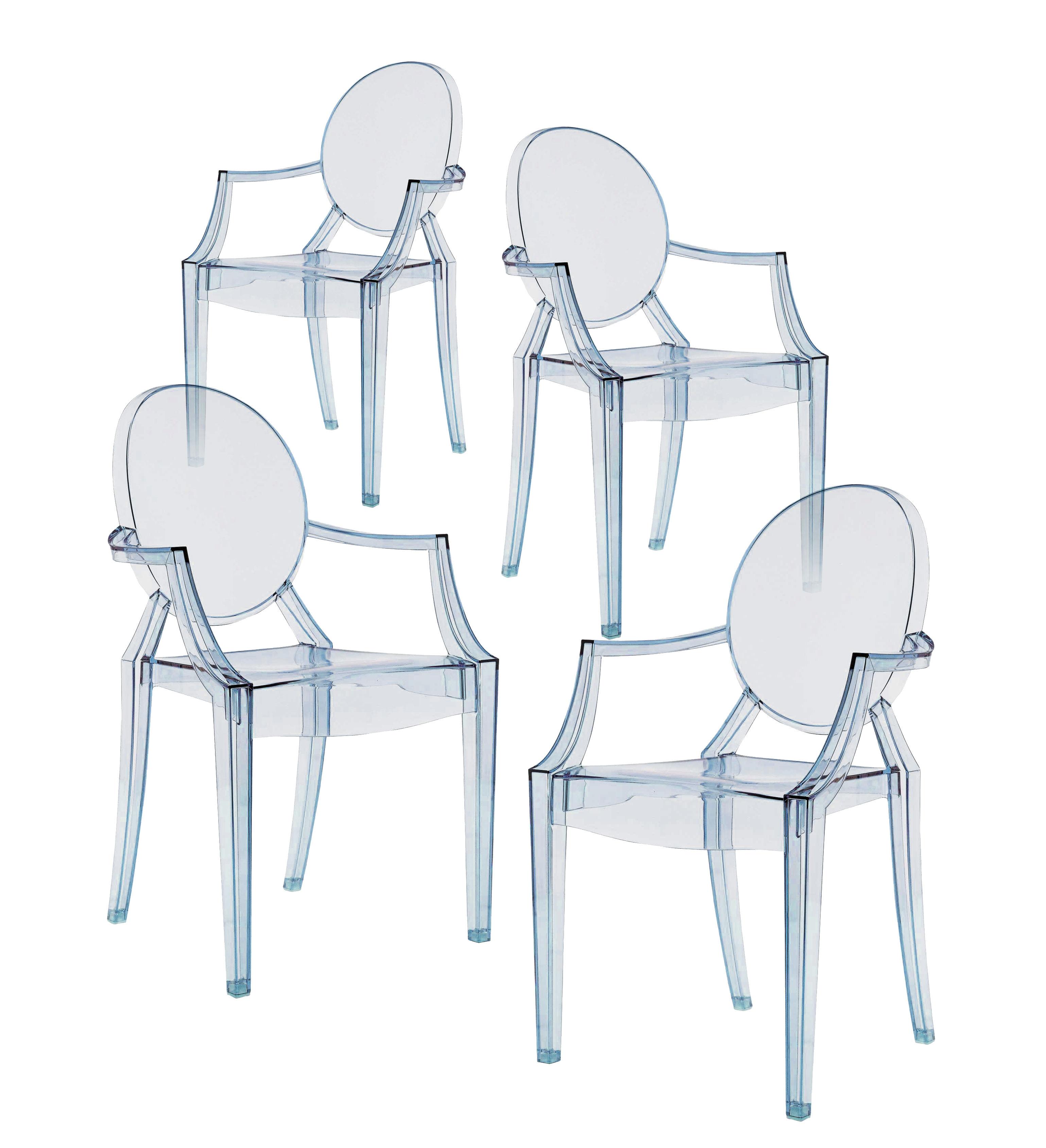 fauteuil empilable louis ghost polycarbonate lot de 4 bleu transparent kartell. Black Bedroom Furniture Sets. Home Design Ideas
