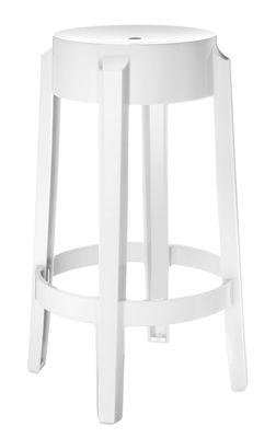 tabouret haut empilable charles ghost h 65 cm plastique blanc opaque kartell. Black Bedroom Furniture Sets. Home Design Ideas