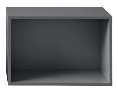 Foto Scaffale Stacked - / Grande rettangolare 65x43 cm / Con fondo di Muuto - Grigio scuro - Legno