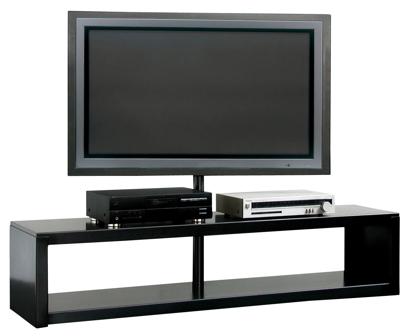 big irony plasma television table console flat screen support black phosphated steel by zeus. Black Bedroom Furniture Sets. Home Design Ideas