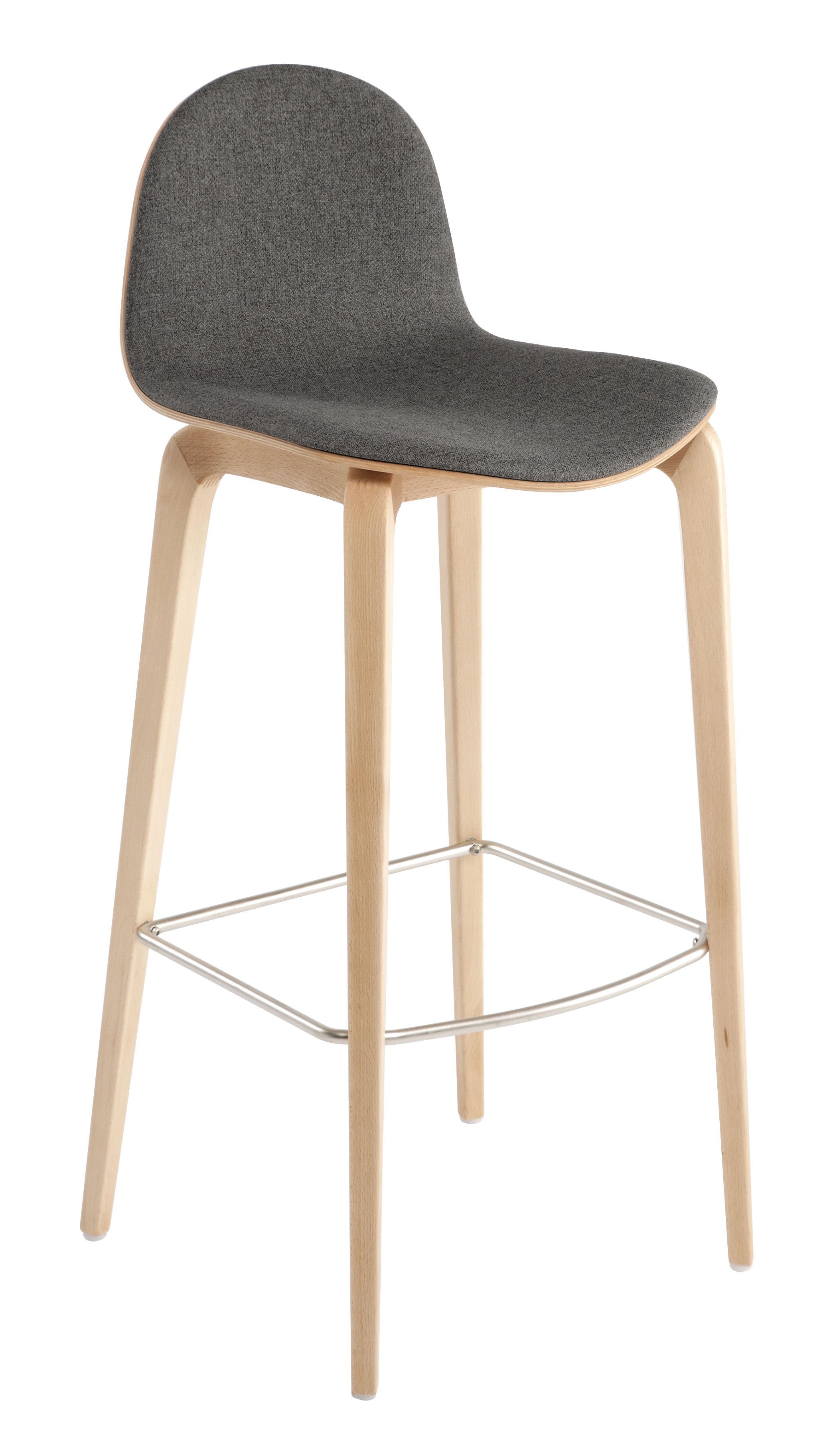 tabouret de bar bob h 74 cm tissu face interne tissu gris bois ondarreta. Black Bedroom Furniture Sets. Home Design Ideas