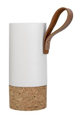 Foto Vaso / Ceramica, sughero & cuoio - Ø 10 x H 22 cm - Bloomingville - Bianco opaco,Sughero,Cuoio naturale - Ceramica