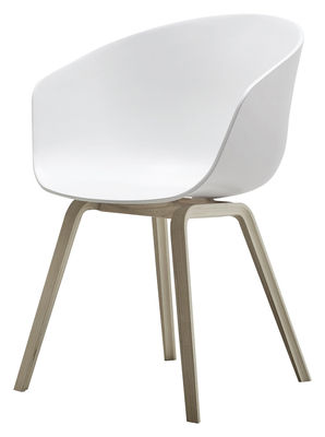 fauteuil about a chair aac22 plastique pieds bois blanc pieds bois naturel hay. Black Bedroom Furniture Sets. Home Design Ideas
