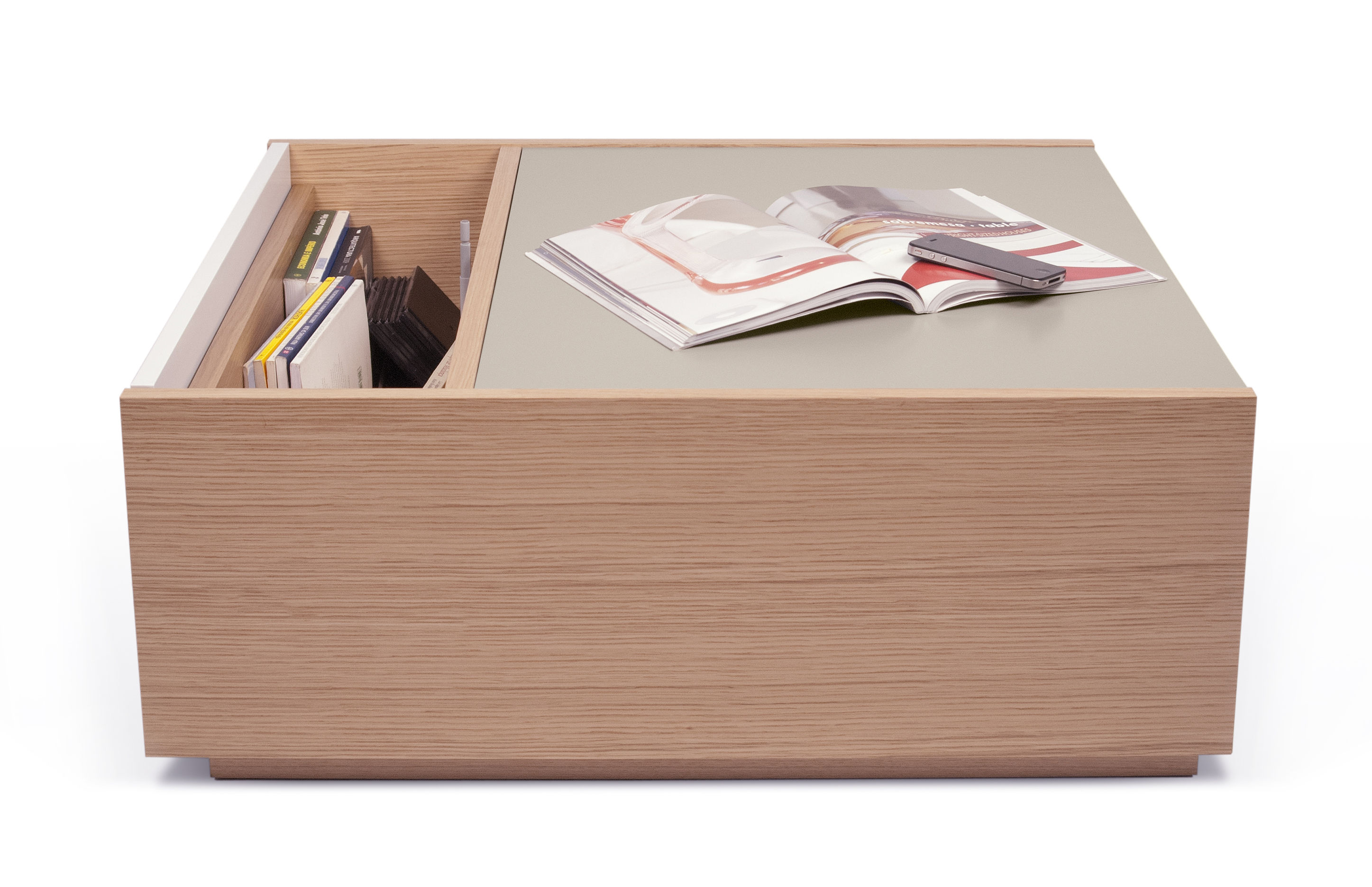 Amsterdam Coffee Table Chest Oak Grey White Top By Pop Up Home