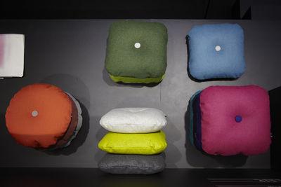 dot steelcut trio cushion 50 cm yellow purple dark grey dots by hay. Black Bedroom Furniture Sets. Home Design Ideas