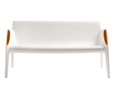 Foto Divano destro Magic Hole - interni/esterni di Kartell - Bianco,Arancione - Materiale plastico