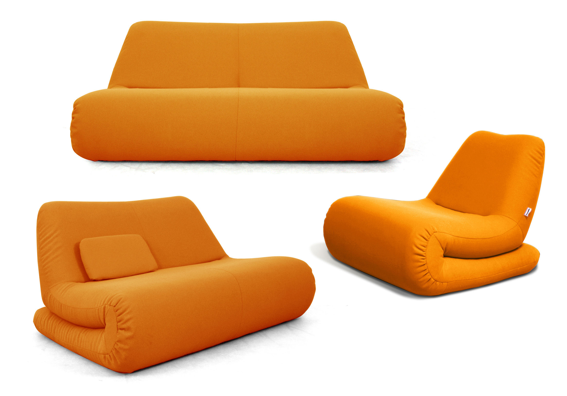 Canap droit zig zag boby 2 places l 152 cm orange dunlopillo - Vente privee dunlopillo ...