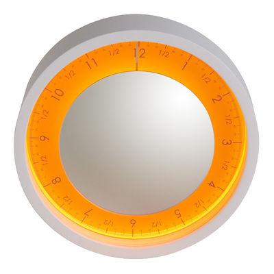 horloge murale solo ora lumineuse miroir 50 cm blanc cadran orange diamantini domeniconi. Black Bedroom Furniture Sets. Home Design Ideas