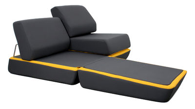 Canap convertible d 39 night l 150 cm gris anthracite jaune dunlopillo - Dunlopillo canape convertible ...