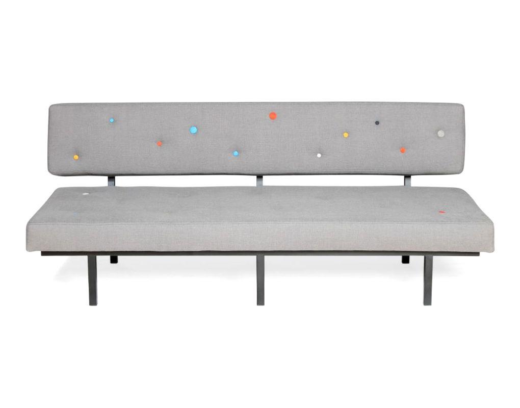 canap droit tom 3 places l 183 cm gris boutons multicolores sentou edition. Black Bedroom Furniture Sets. Home Design Ideas
