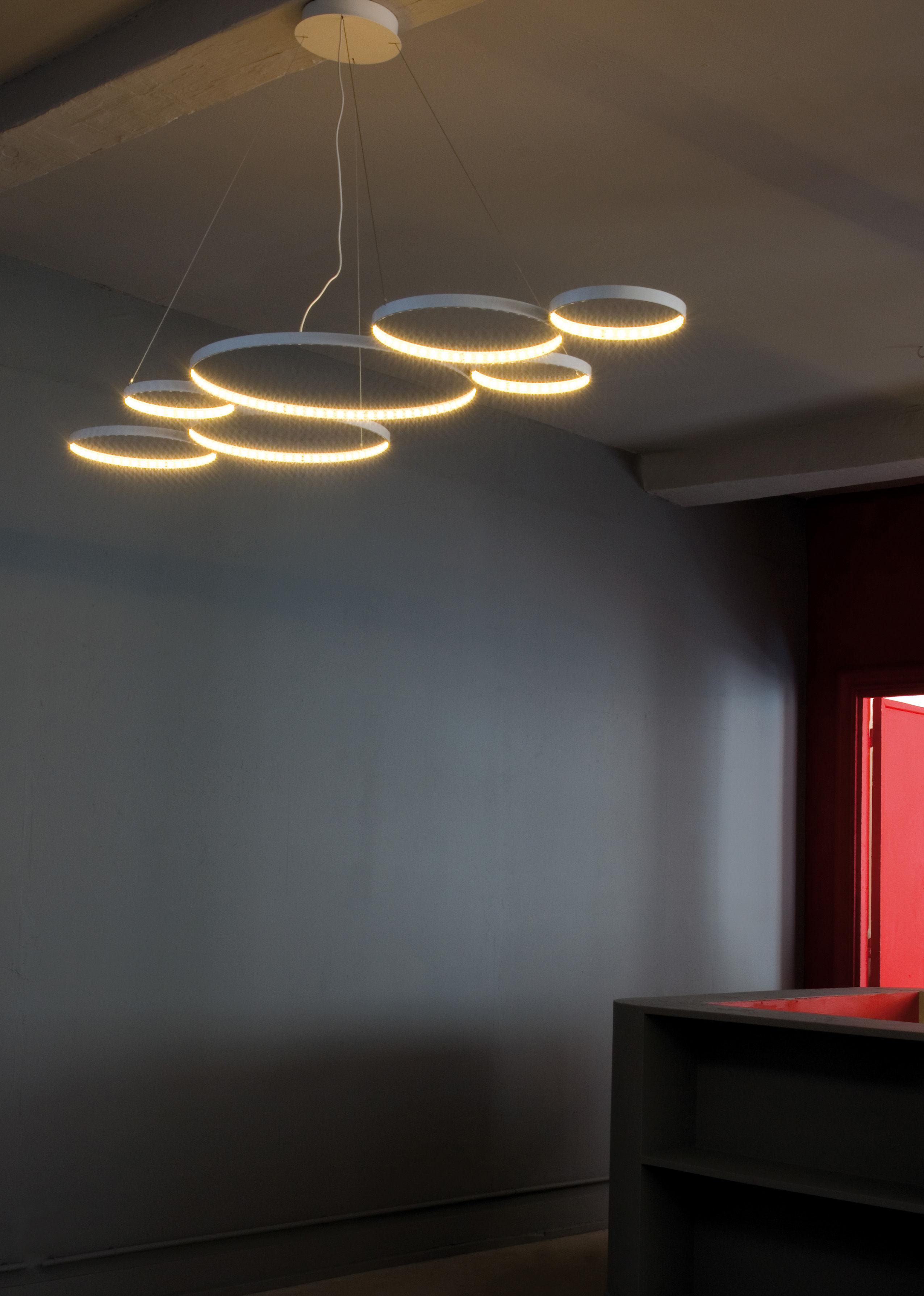 suspension ultra8 led 180 x 50 cm blanc le deun. Black Bedroom Furniture Sets. Home Design Ideas