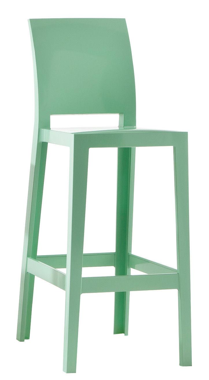 chaise de bar one more please h 65cm plastique vert kartell. Black Bedroom Furniture Sets. Home Design Ideas