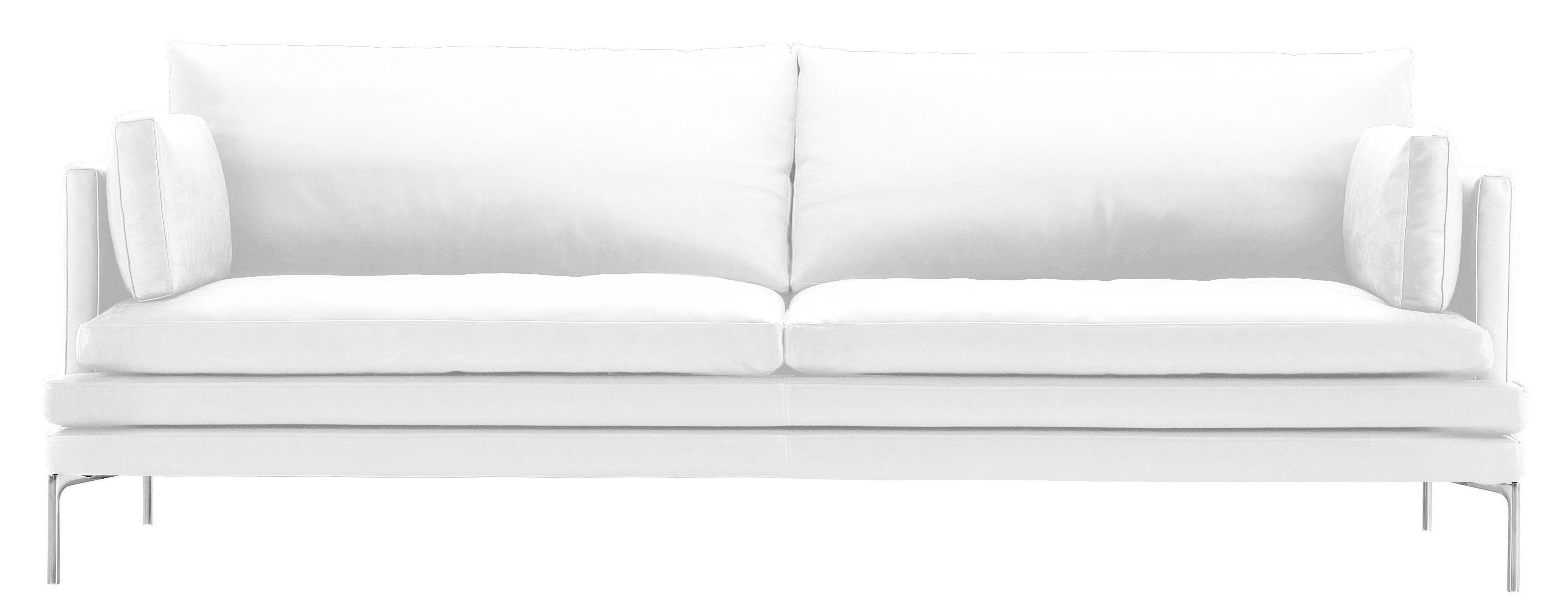 Canap Droit William Tissu 3 Places L 224 Cm Blanc