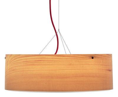 Foto Sospensione Arba - Ø 50 cm di Belux - Rosso,Legno - Legno