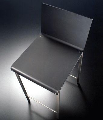 Chaise de bar bianco mat h 64 cm noir mat pieds acier for Chaise 64 cm