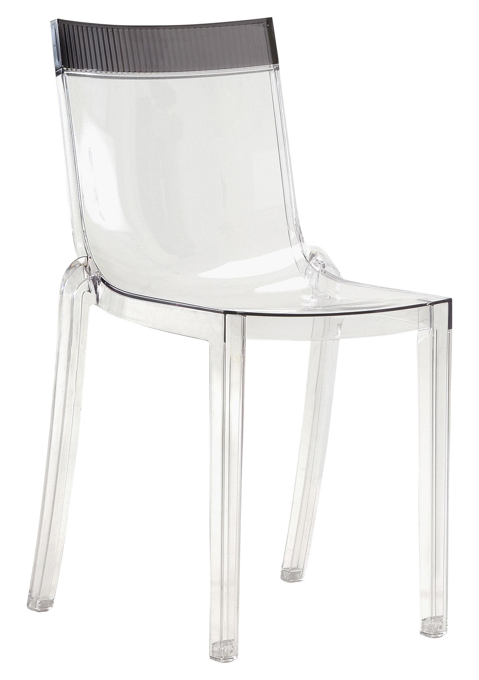 Chaise empilable hi cut transparente polycarbonate cristal orange kartell - Chaise transparente polycarbonate ...