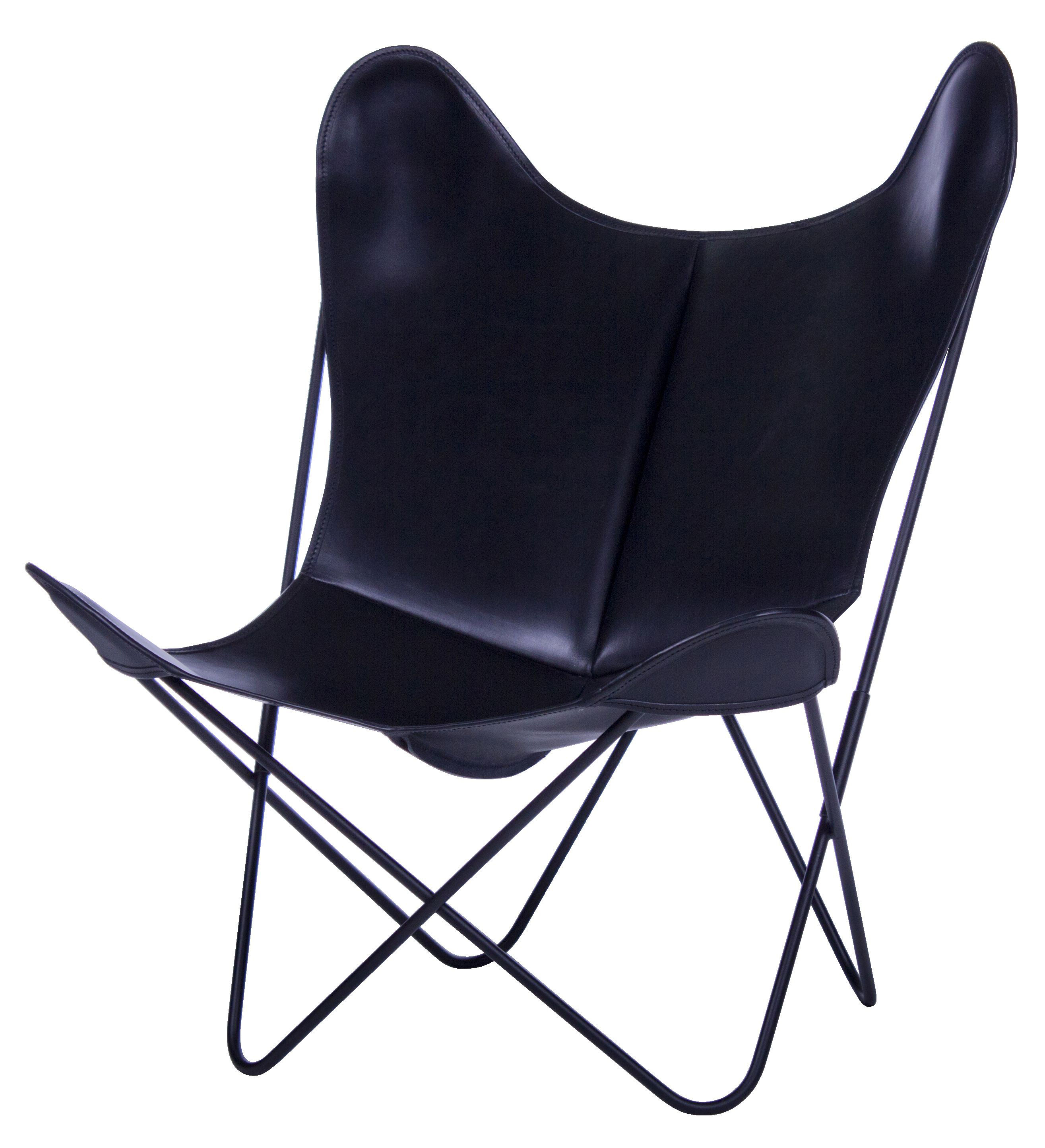 Fauteuil aa butterfly cuir structure noire structure noire cuir noir aa - Fauteuil made in design ...
