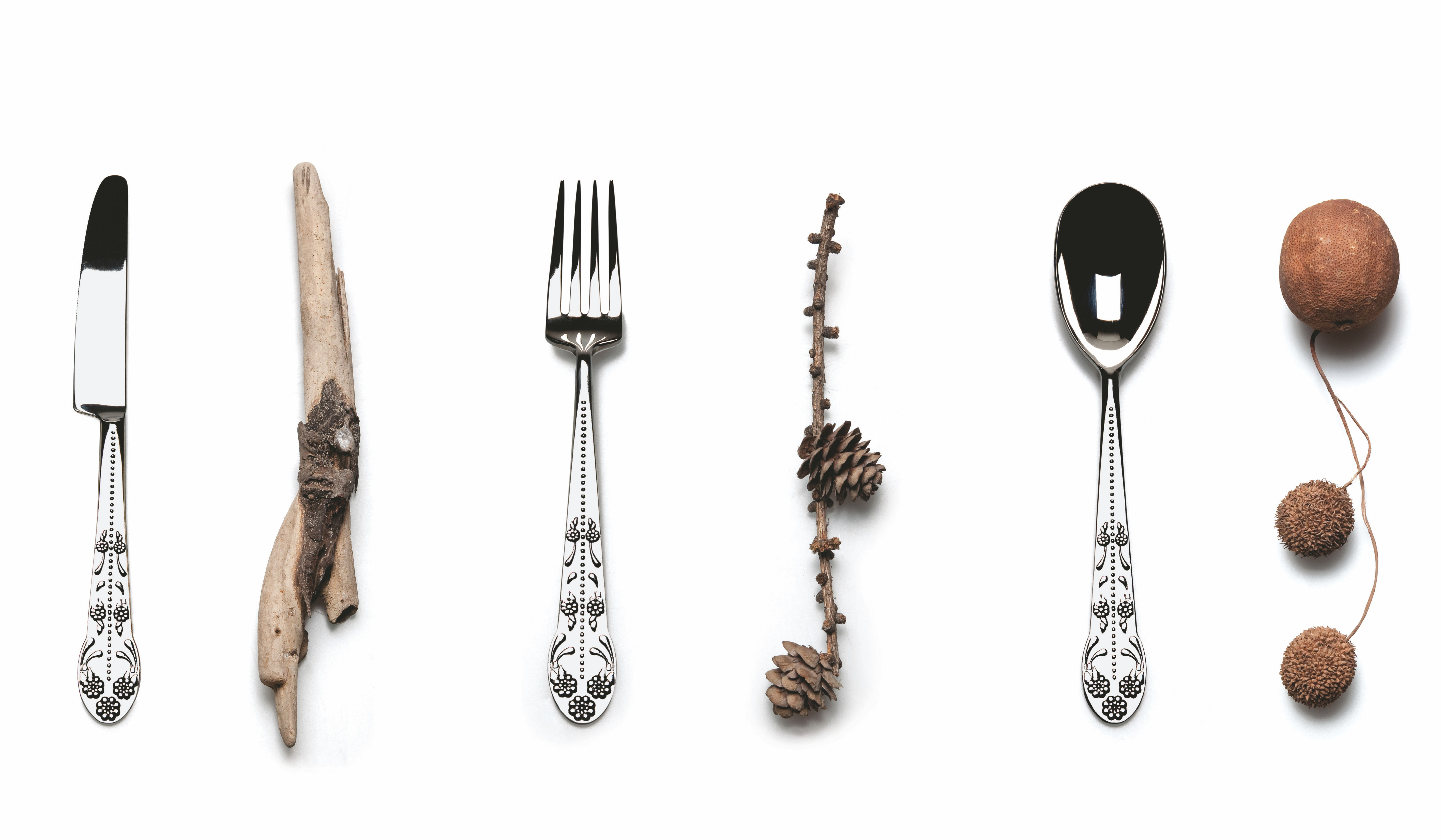 Fourchette asta barocca acier brillant fourchette de for Couverts de table design
