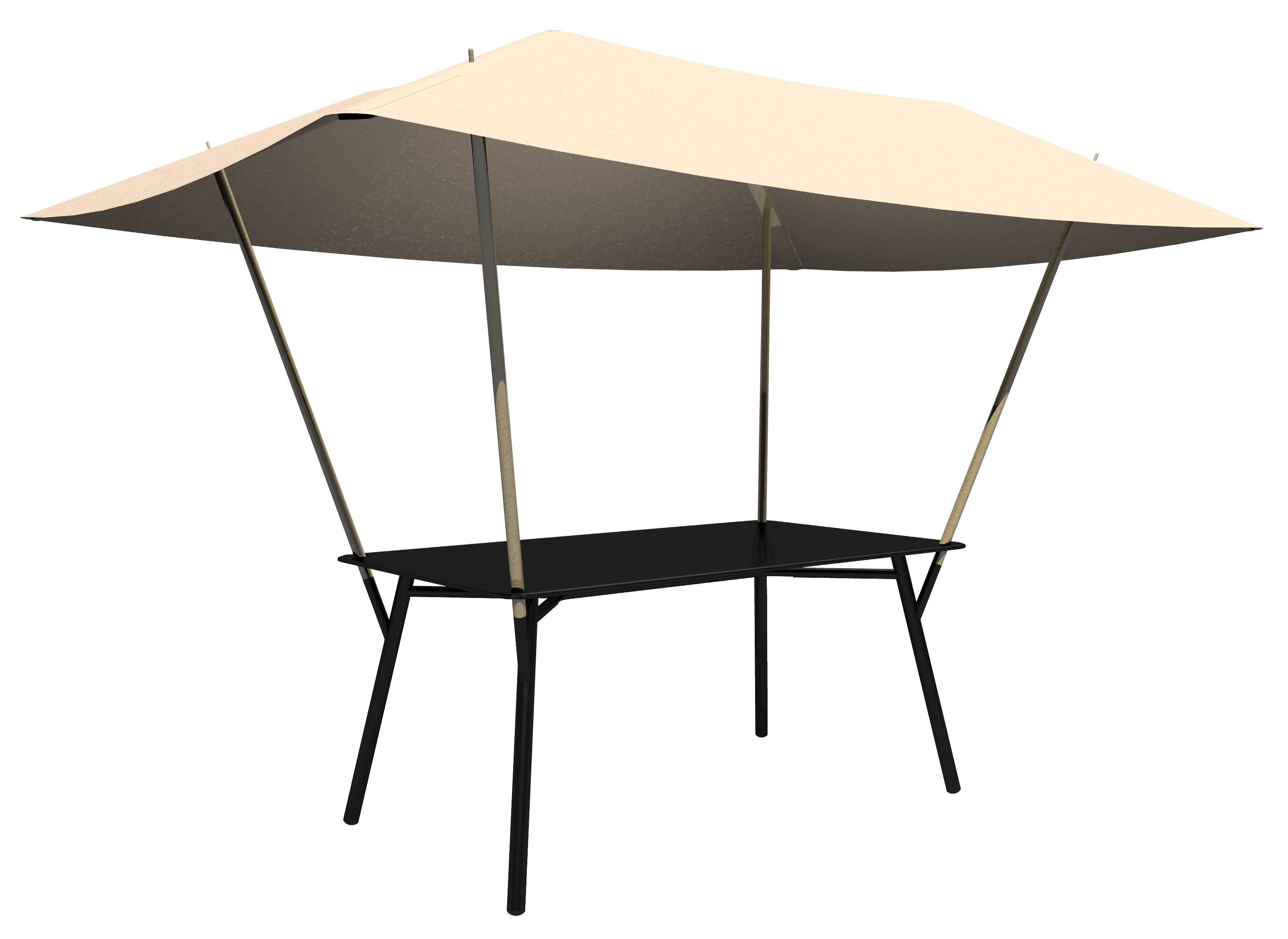 Tablabri garden table with sun protection canvas black for Table exterieur fermob