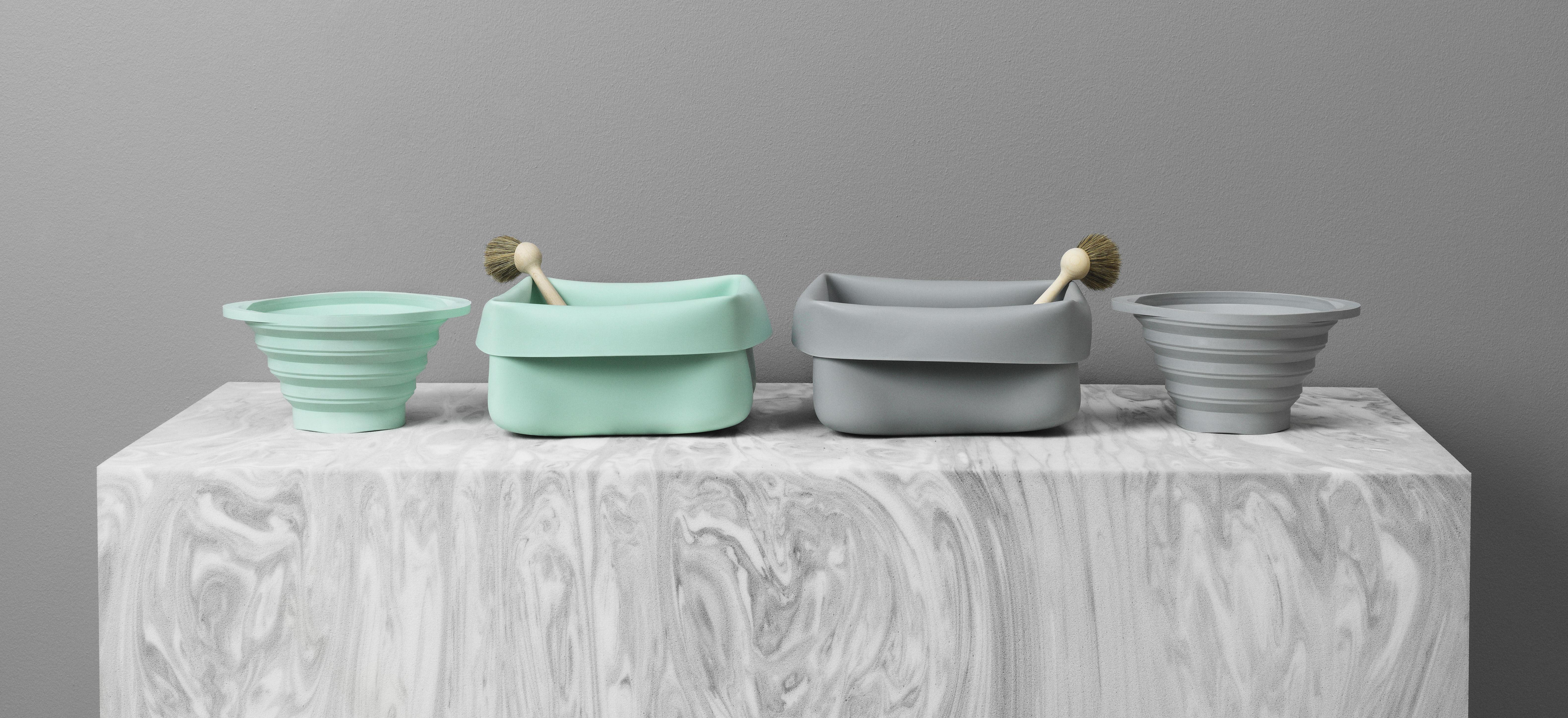 Bassine washing up bowl en caoutchouc avec brosse menthe for Bassine caoutchouc