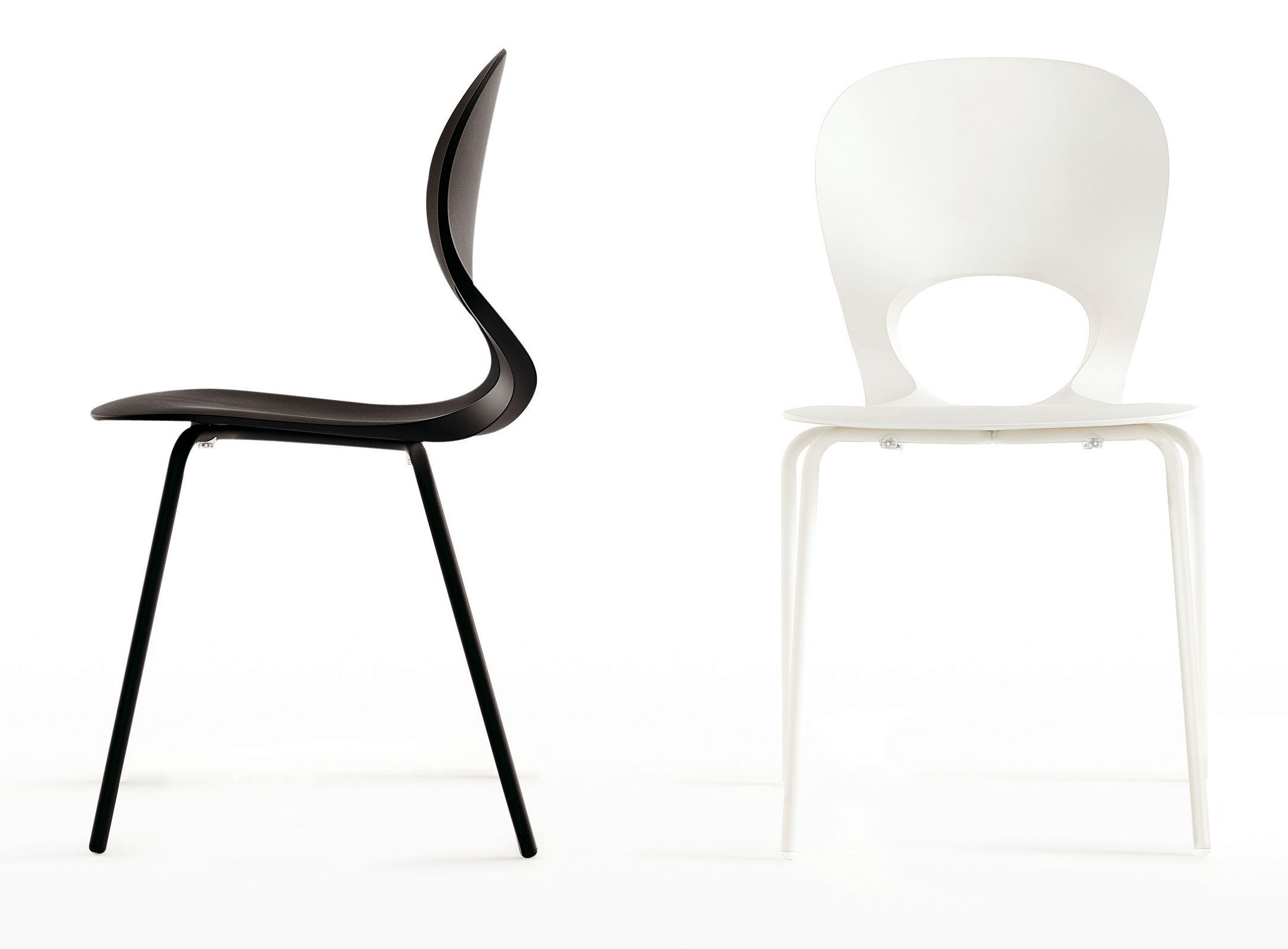pikaia stackable chair plastic metal legs black by