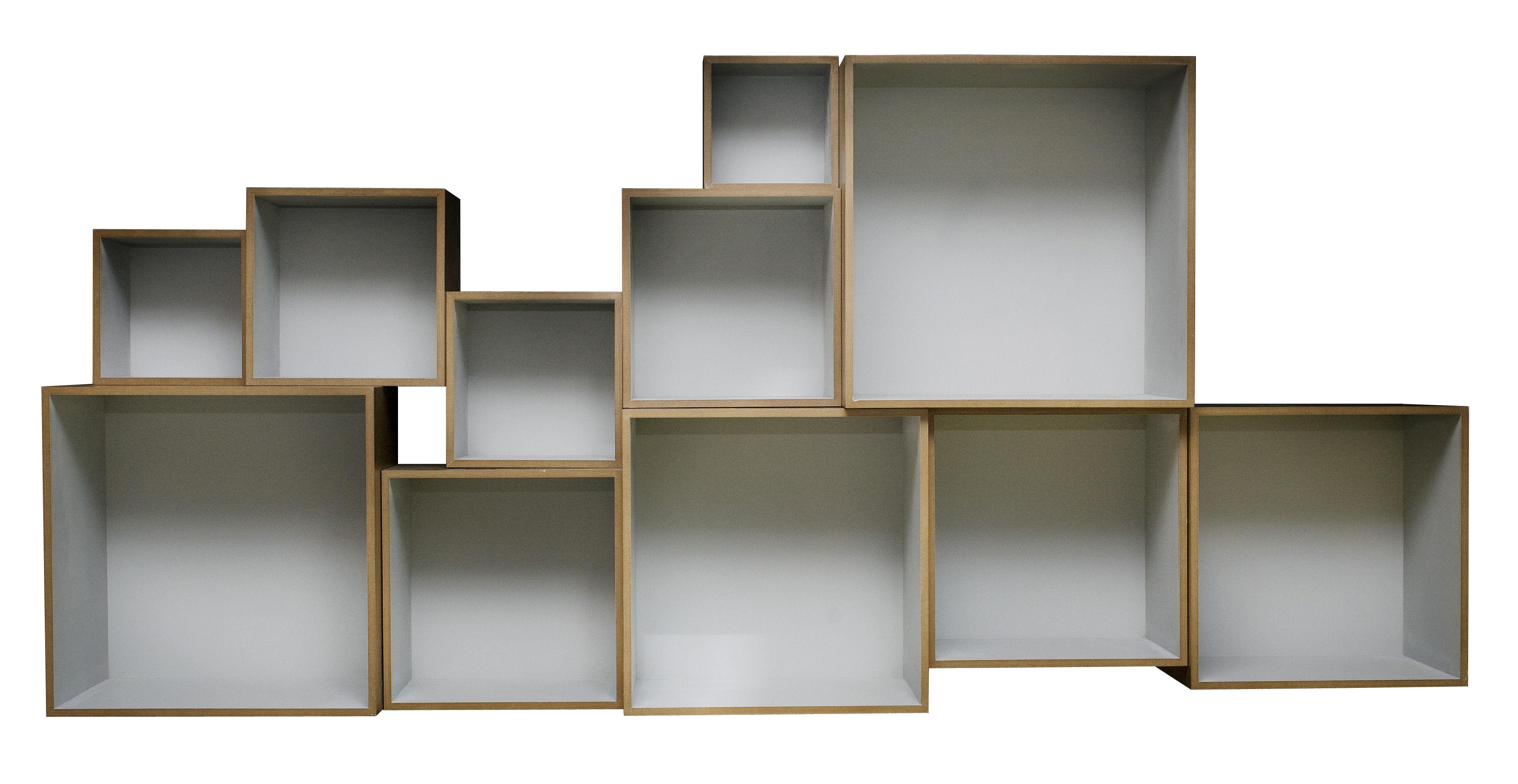 Etag re babushka modulable set de 11 modules ext naturel int gris clair - Bloc etagere modulable ...