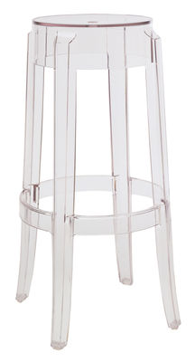 Tabouret haut empilable charles ghost h 75 cm plastique cristal kartell - Tabouret plastique empilable ...