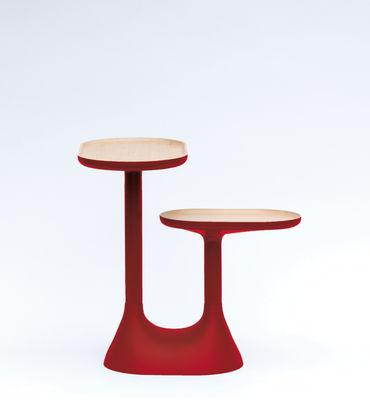 Table basse baobab 2 plateaux pivotants rouge moustache - Table basse plateaux pivotants ...