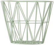Cesto Wire Large - / Ø 60 x H 45 cm di Ferm Living - Verde acqua - Metallo