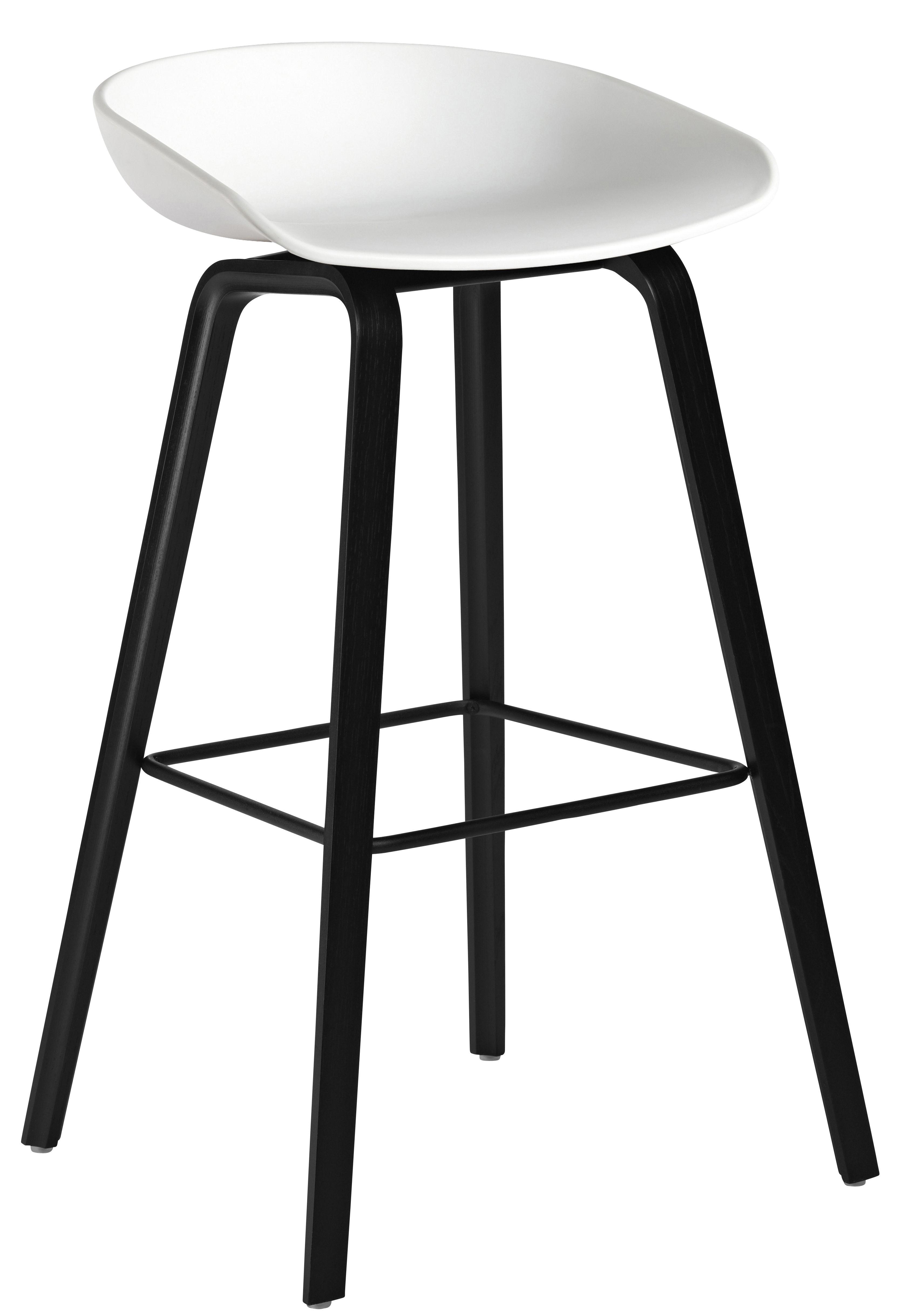 tabouret de bar about a stool aas 32 h 75 cm plastique pieds bois blanc pieds noirs hay. Black Bedroom Furniture Sets. Home Design Ideas