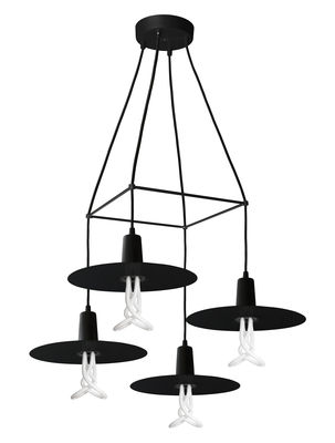Chandelier drop hat pendant 4 arms led bulbs included for Suspension luminaire 4 ampoules