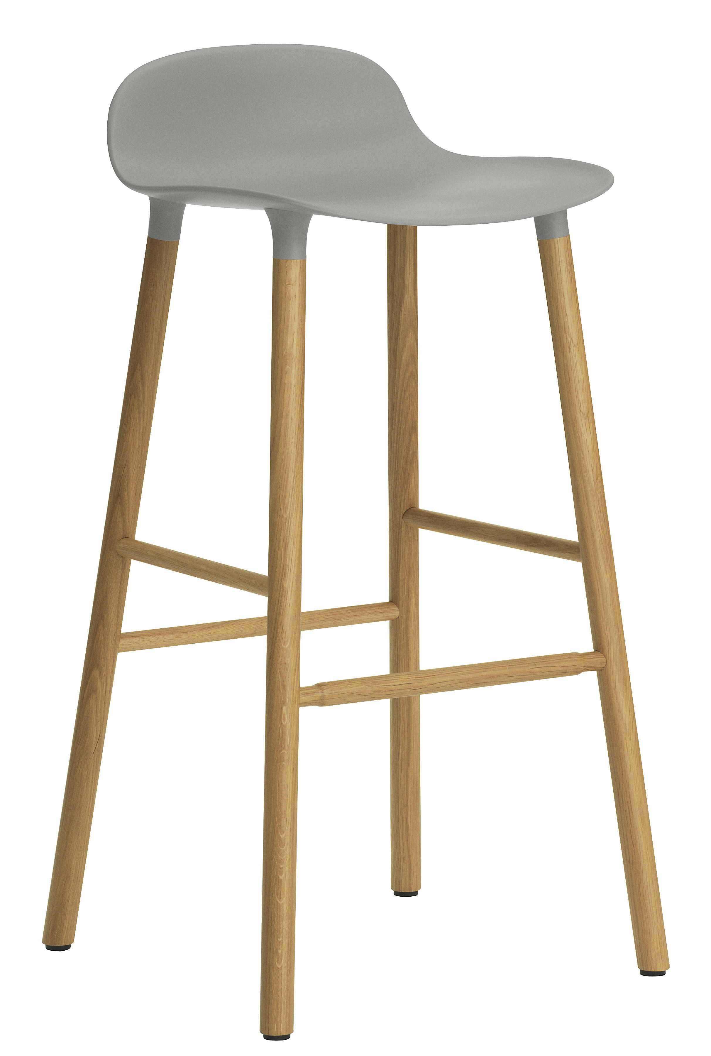 Form bar stool h 75 cm oak leg grey oak by normann for Exclusive barhocker