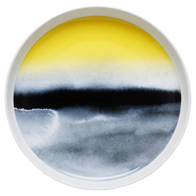 Foto Piatto da portata Oiva Sääpäiväkirja / Ø 32 cm - Marimekko - Blu,Giallo - Ceramica vassoio