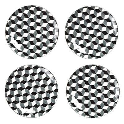assiette 3 d set de 4 noir blanc pols potten. Black Bedroom Furniture Sets. Home Design Ideas