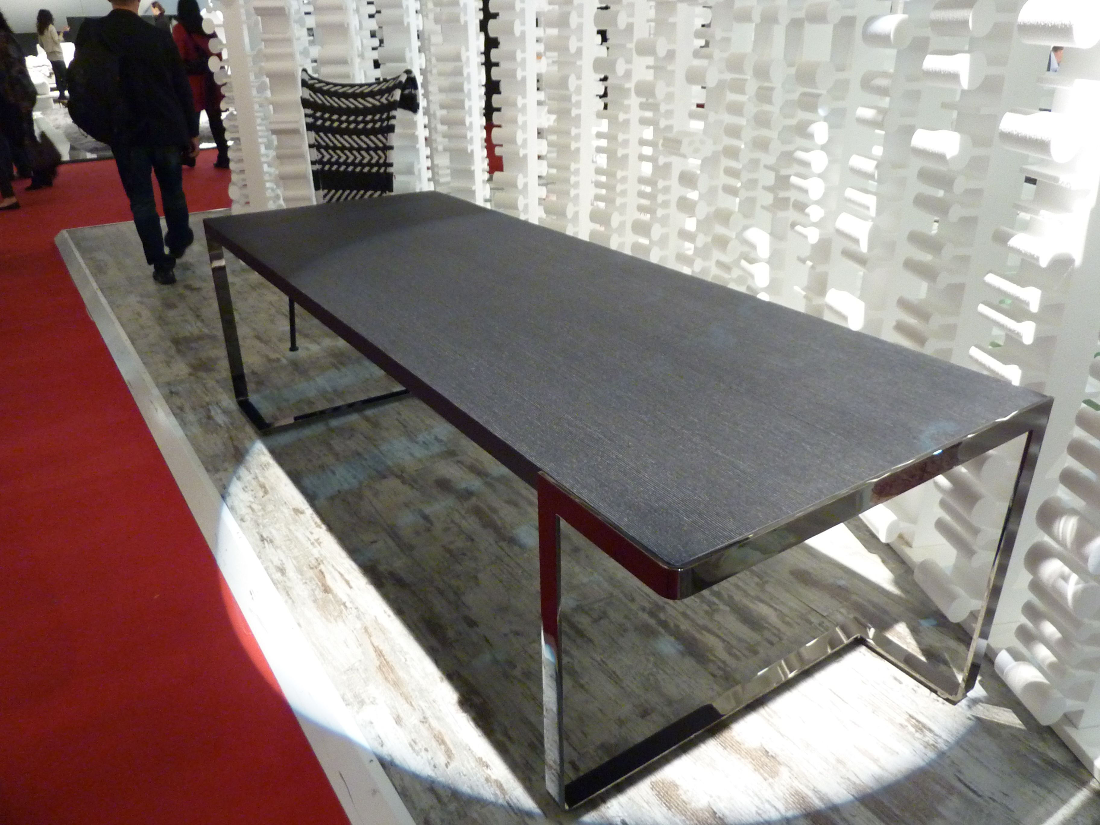 Tred table 250 x 90 cm top in wood veneered in silver for Solidworks design table zoom