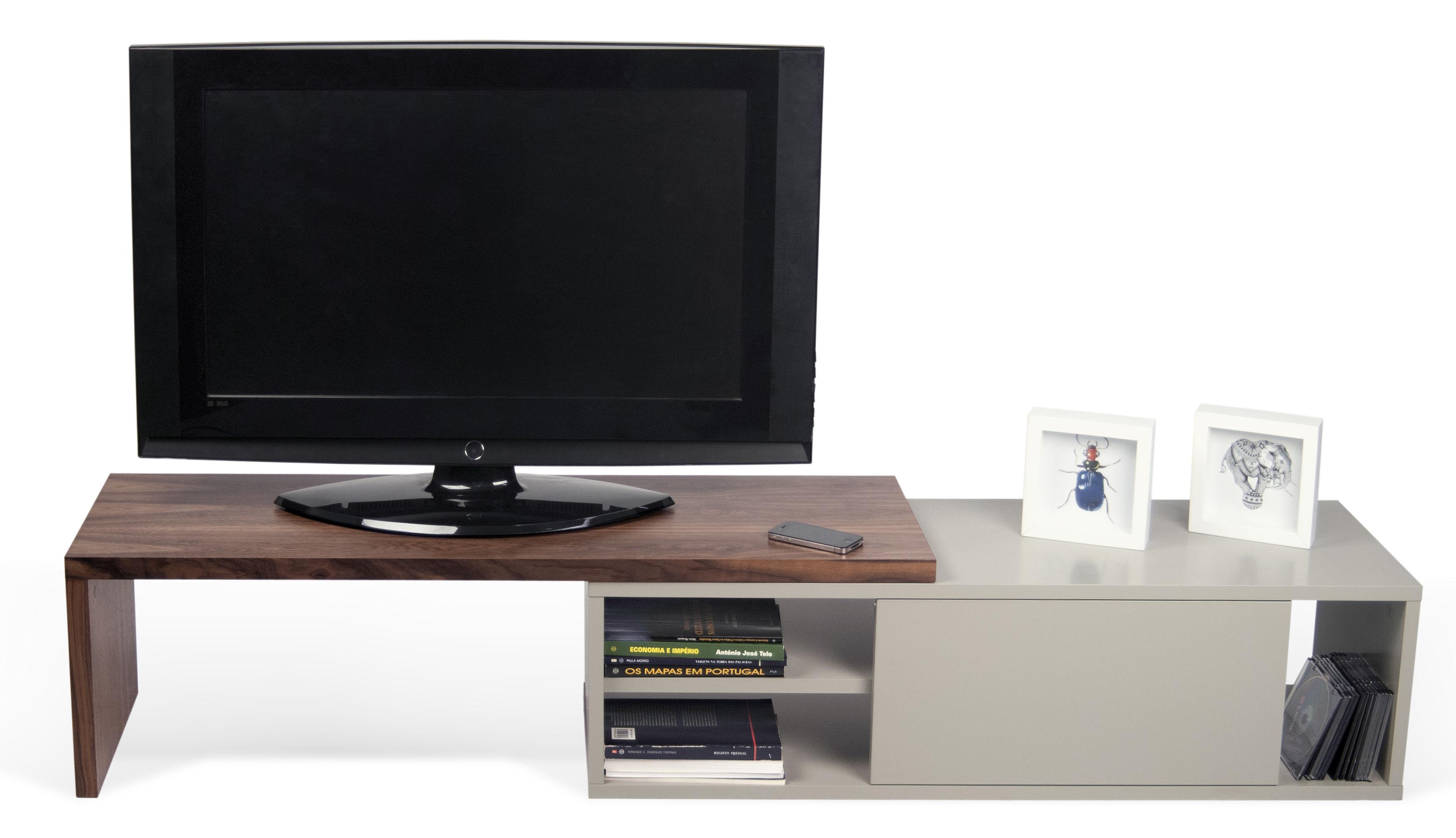 meuble tv extensible slide pivotant l 110 203 cm gris noyer pop up home. Black Bedroom Furniture Sets. Home Design Ideas