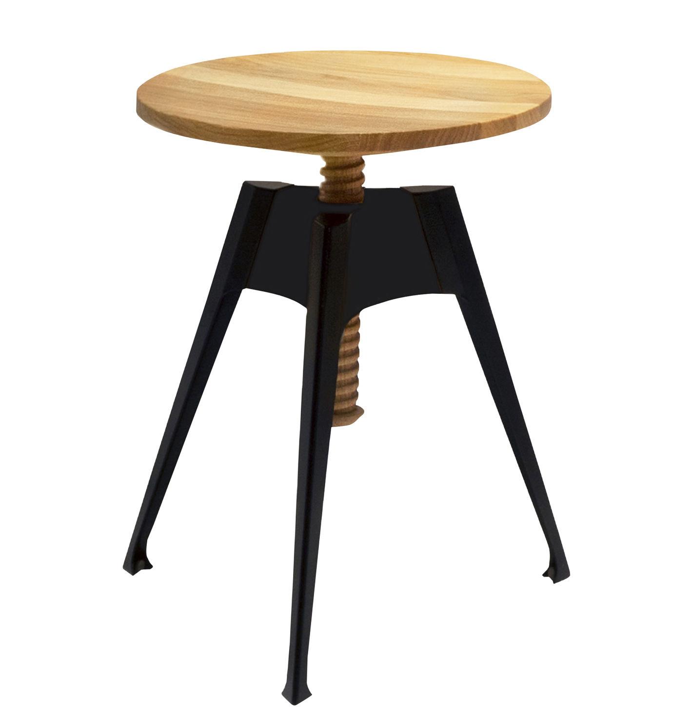 tabouret portable atelier moleskine h 45 60 cm bois noir driade. Black Bedroom Furniture Sets. Home Design Ideas