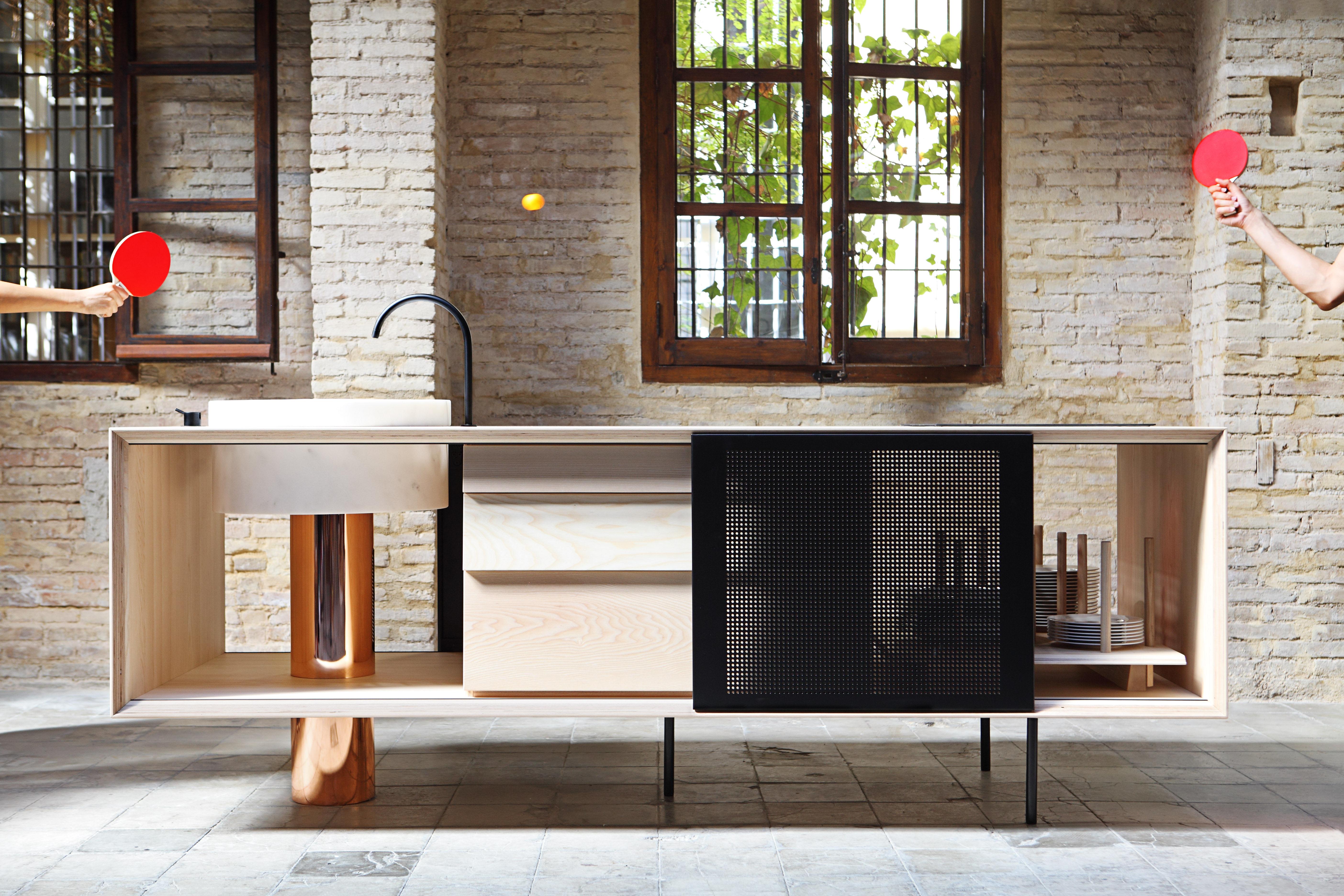 Ilot de cuisine float / avec évier marbre  l 244 cm bois, noir ...