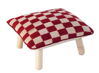 Foto Pouf Melange Pattern 5 / H 38 cm - Nanimarquina - Bianco,Rosso,Legno naturale - Tessuto