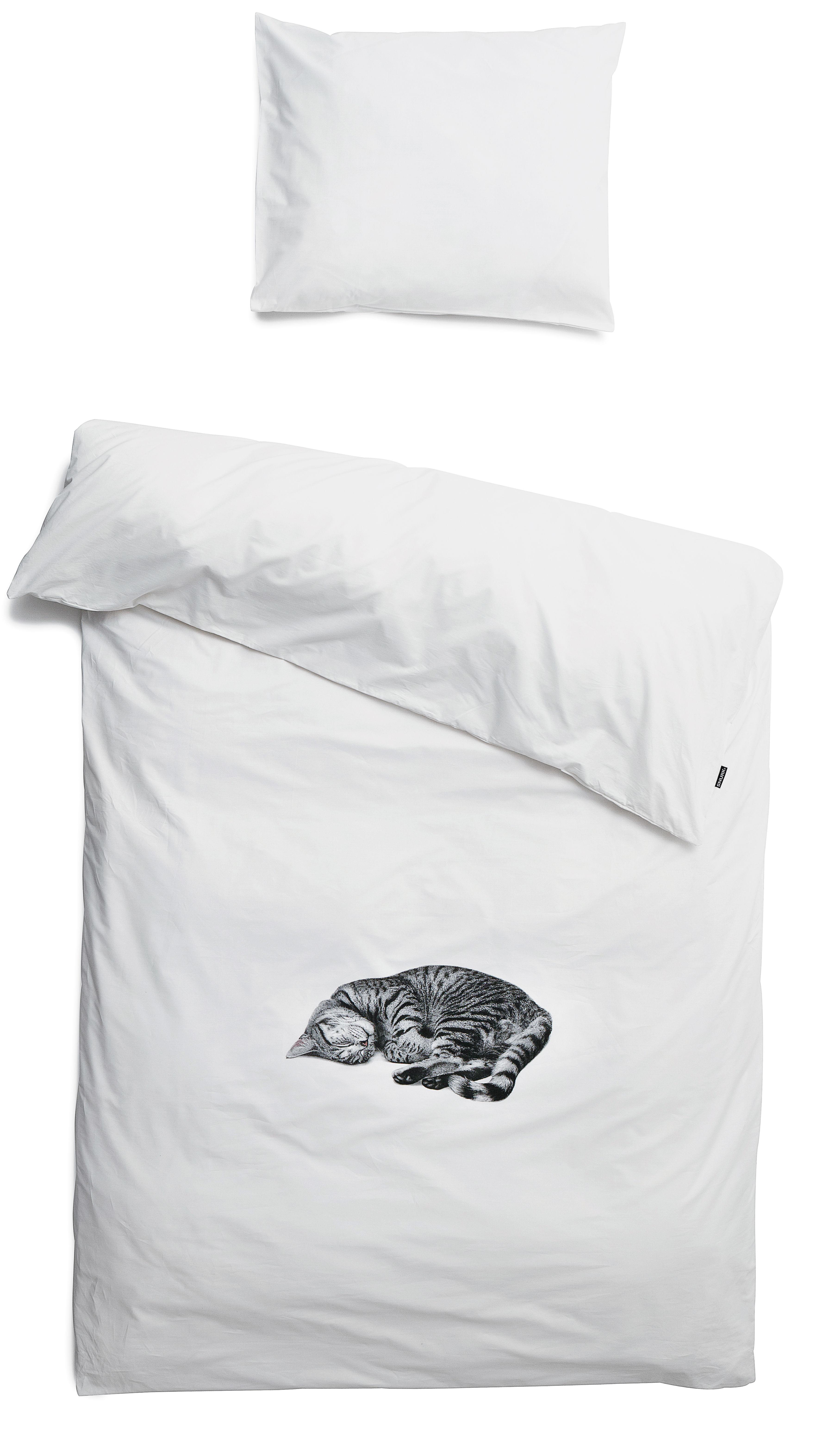parure de lit 1 personne ollie 140 x 200 cm chat gris snurk. Black Bedroom Furniture Sets. Home Design Ideas