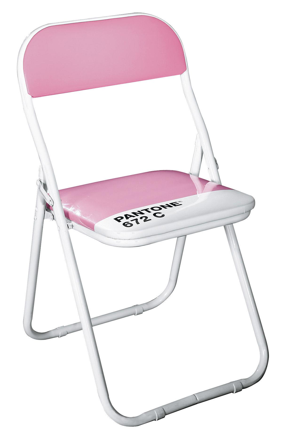 Chaise pliante pantone plastique structure m tal 672c lavande paste - Chaise pliante pantone ...