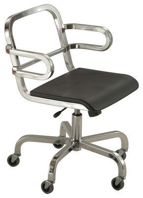Foto Poltrona a rotelle Nine-O di Emeco - Grigio,Alluminio opaco - Metallo