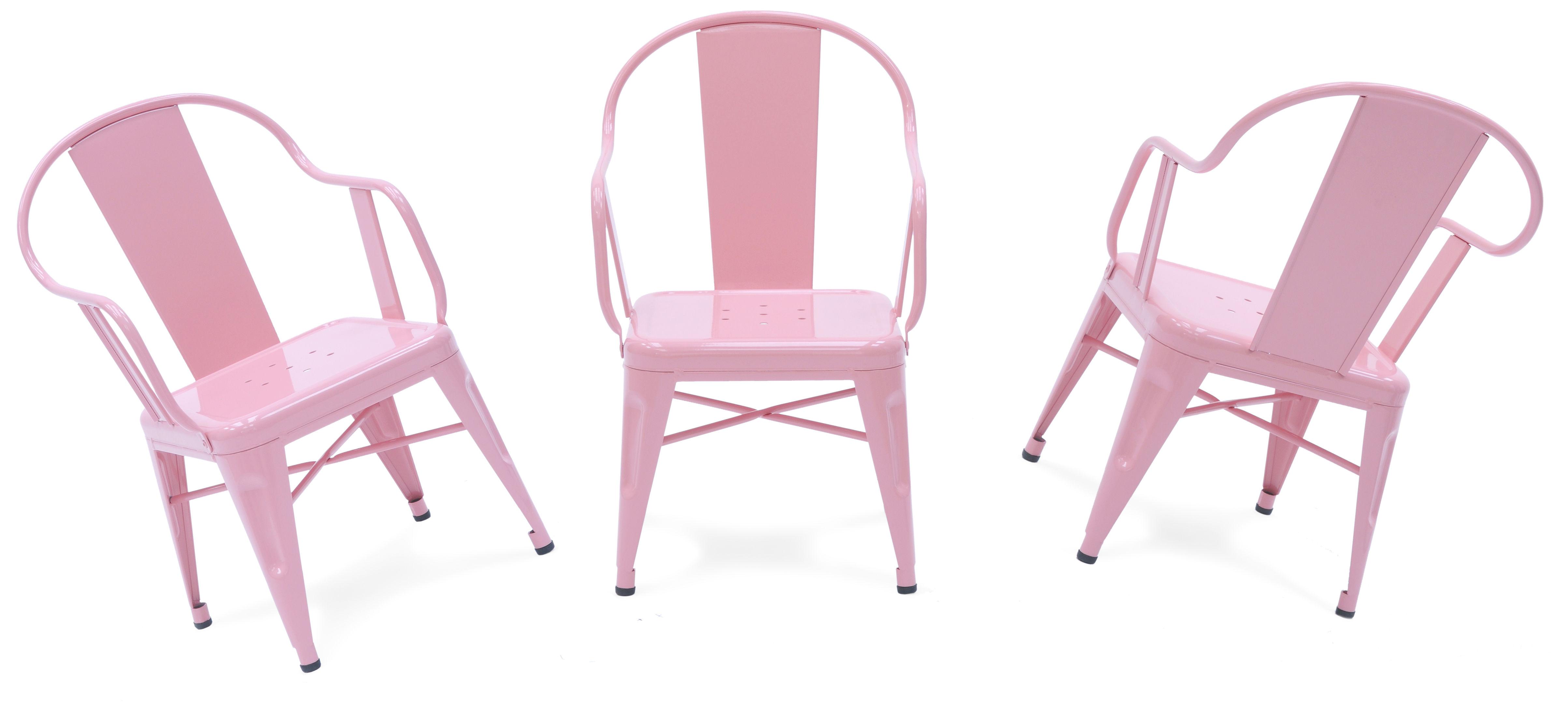 fauteuil enfant mouette acier laqu int rieur rose p le tolix. Black Bedroom Furniture Sets. Home Design Ideas