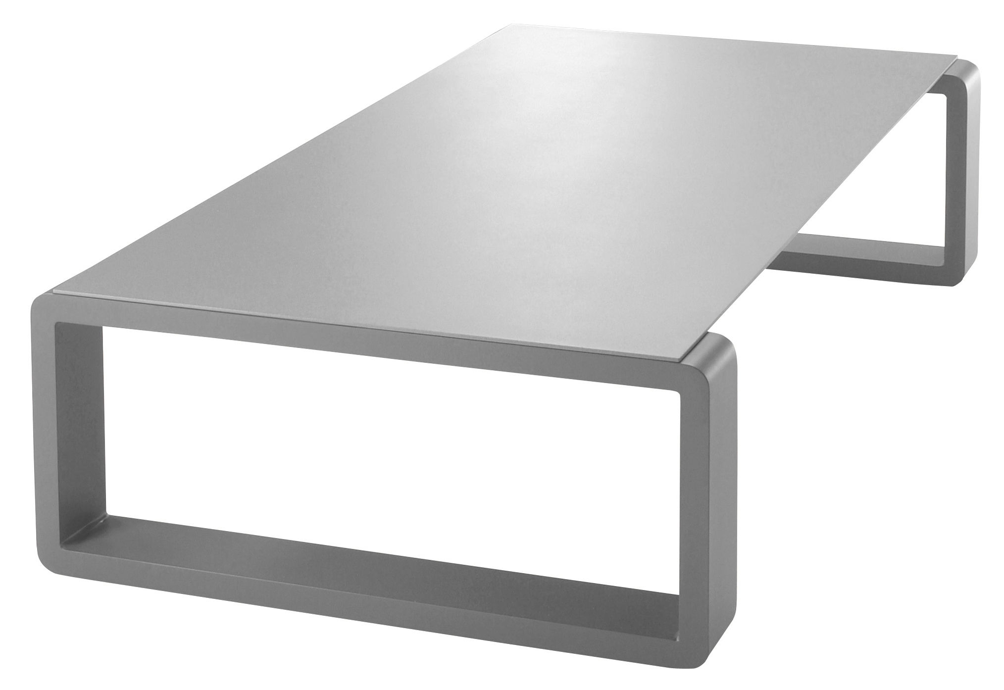 Table basse kama plateau argent structure argent ego for Table basse argent