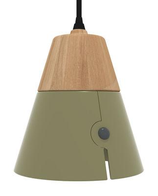 Foto Sospensione Cone Big / LED - H 18 cm - Universo Positivo - Nero,Rovere naturale,Khaki - Metallo