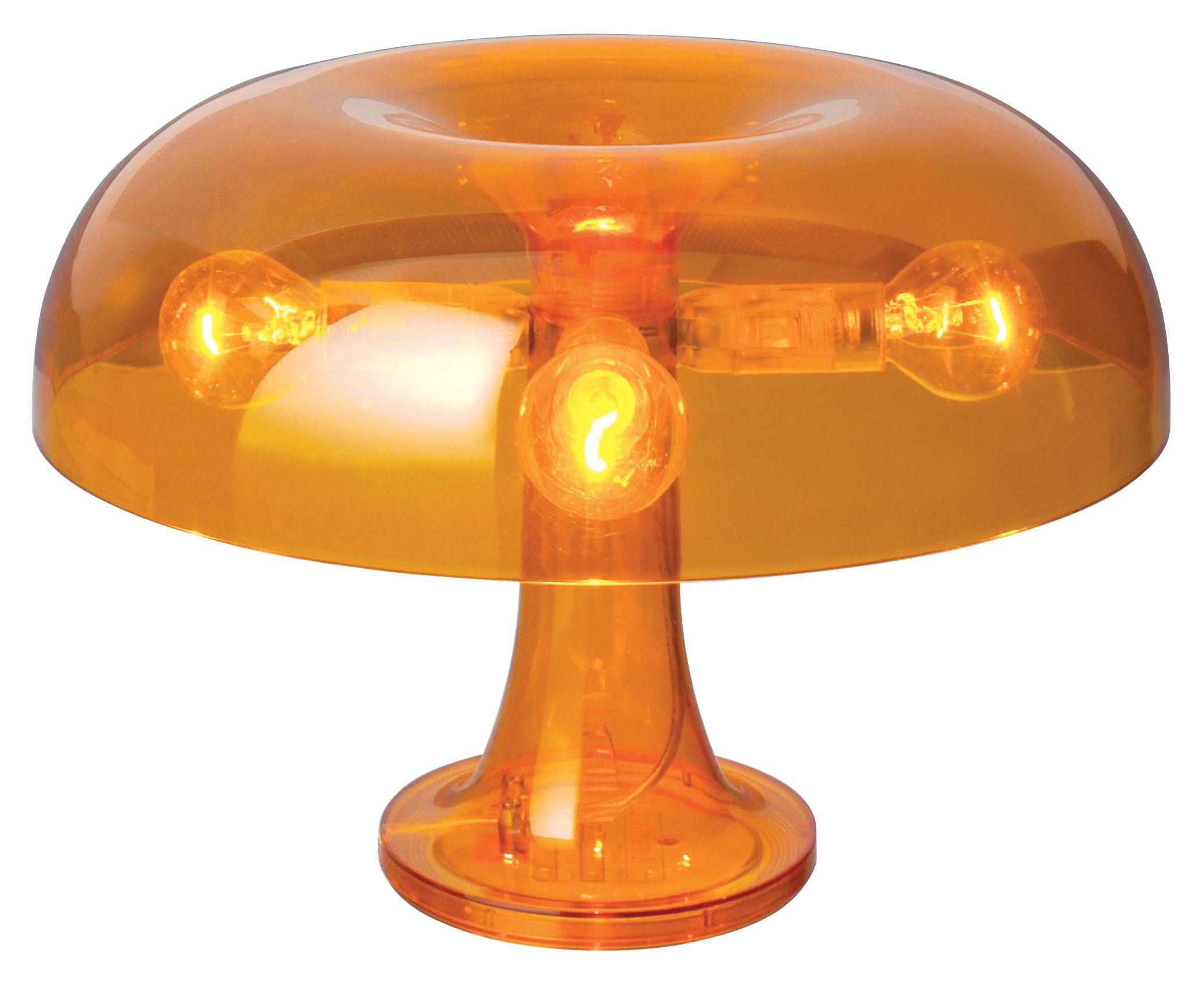lampe de table nessino 32 cm orange transparent artemide. Black Bedroom Furniture Sets. Home Design Ideas